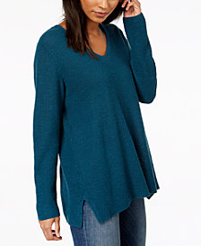Eileen Fisher Organic Linen Blend V-Neck Sweater