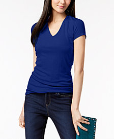 I.N.C. Ribbed V-Neck Top, Created for Macy's
