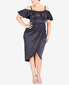 City Chic Trendy Plus Size Ruffled Cold-Shoulder Dress