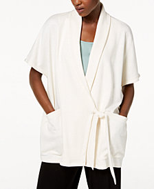 Eileen Fisher Organic Cotton Blend Draped Kimono Wrap Jacket
