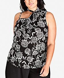 City Chic Trendy Plus Size Printed Mini Rosa Tie-Neck Top