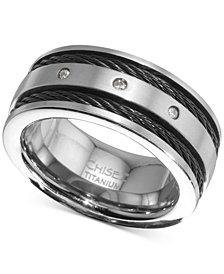 Men's Diamond Accent Cable Band in Titanium & Black Ion-Plate