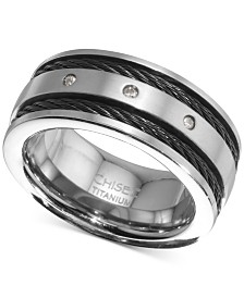 Men's Diamond Accent Cable Band in Titanium & Black Ion-Plate