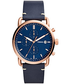 Fossil Men's Chronograph Commuter Navy Leather Strap Watch 42mm