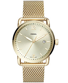 Fossil Men's Commuter Gold-Tone Stainless Steel Mesh Bracelet Watch 42mm
