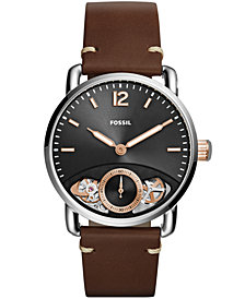 Fossil Men's Commuter Twist Brown Leather Strap Watch 42mm