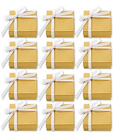Set of 12 4-Pc. Gold Gift Boxes With White Ribbon