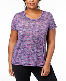 Ideology Plus Size Space-Dyed Keyhole T-Shirt, Created for Macy's
