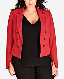 City Chic Trendy Plus Size Trendy Escape Faux-Button Jacket