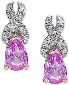 Pink Sapphire (1 ct. t.w.) & Diamond (1/8 ct. t.w.) Stud Earrings in 14k Rose Gold