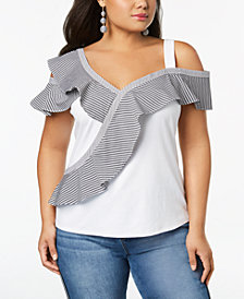 I.N.C. Plus Size Ruffle-Trim Asymmetrical Top, Created for Macy's