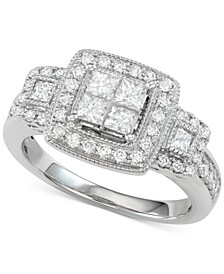 Diamond Princess Halo Ring (1 ct. t.w.) in 14k White Gold