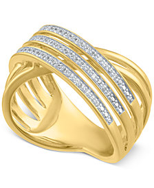 Diamond Crisscross Statement Ring (1/4 ct. t.w.)