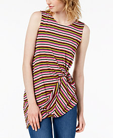Bar III Striped Twist-Front Top, Created for Macy's
