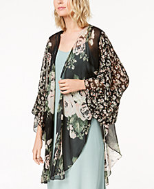 Cejon Floral Crinkle-Chiffon Kimono & Cover-Up