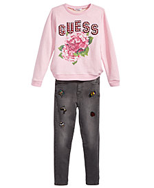 GUESS Big Girls Graphic-Print Sweatshirt & Beaded Appliqué Jeans