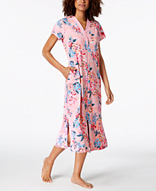 Miss Elaine Printed Knit Long Zip Robe