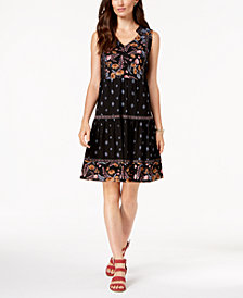 Style & Co Petite Printed Tiered Peasant Dress, Created for Macy's
