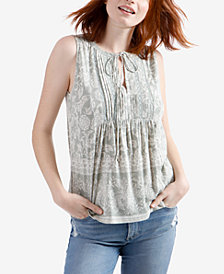 Lucky Brand Printed Pintucked Sleeveless Top