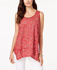 Style & Co Geo-Print Handkerchief-Hem Top, Created for Macy's