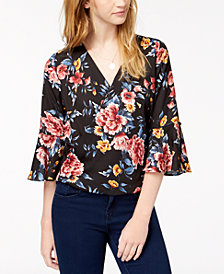 BCX Juniors' Romantic Floral Surplice Top