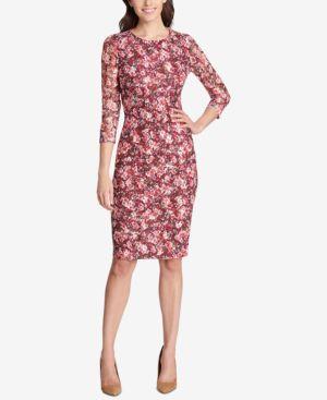 KENSIE FLORAL PRINTED LACE SHEATH DRESS