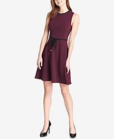 Tie-Waist Scuba Crepe Dress