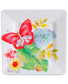 CLOSEOUT! Laurie Gates Ivory Floral Square Salad Plate, First at Macy's