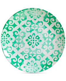 Gibson Aqua Geo Dinner Plate, Created for Macy's