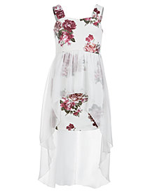 Sequin Hearts Big Girls Floral-Print Max-Overlay Dress