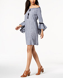Style & Co Petite Off-The-Shoulder Cotton Fringe-Trim Dress, Created for Macy's