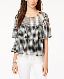 John Paul Richard Petite Tiered Gingham-Print Top