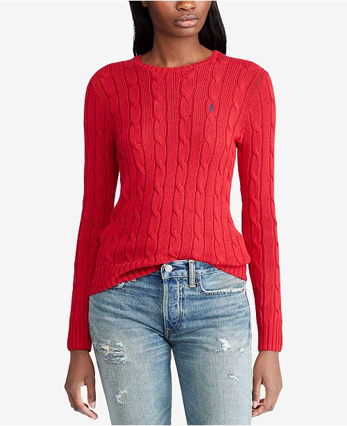 68a73a9a27 Polo Ralph Lauren Cable-Knit Cotton Sweater - Sweaters - Women - Macy s