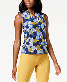 Anne Klein Printed Pleated V-Neck Top