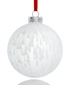 Holiday Lane White Glass Ball Ornament with Dripping Paint Pattern, Created for Macy's