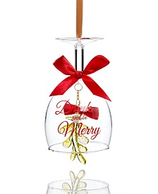 Holiday Lane Spirits Drink and Be Merry Wine Glass Ornament Created For Macy's