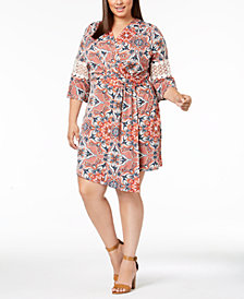 NY Collection Plus & Petite Plus Size Printed Crochet-Sleeve Wrap Dress