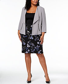Kasper Plus Size Wing-Lapel Blazer & Floral-Print Pencil Skirt