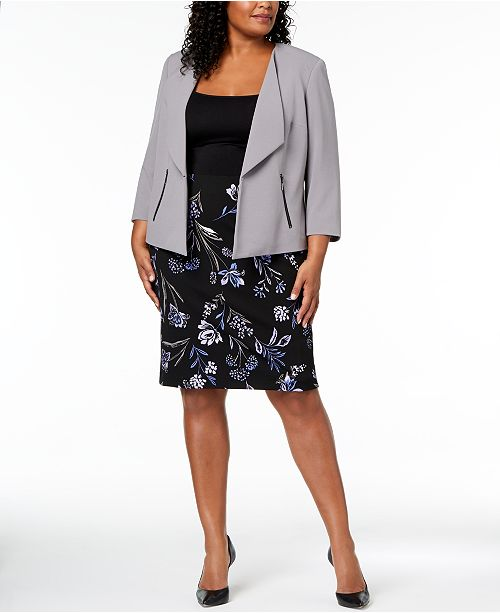 f9013bcf08ba5 ... Kasper Plus Size Wing-Lapel Blazer & Floral-Print Pencil Skirt ...