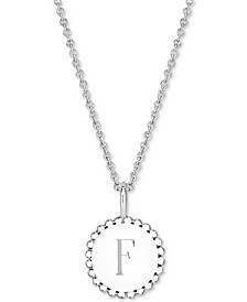 "Initial Medallion Pendant Necklace in Sterling Silver, 16"" + 2"" extender"