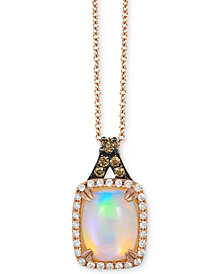 "Le Vian® Neopolitan Opal™ (7/8 ct. t.w.) & Diamond (1/6 ct. t.w.) 18"" Pendant Necklace in 14k Rose Gold"