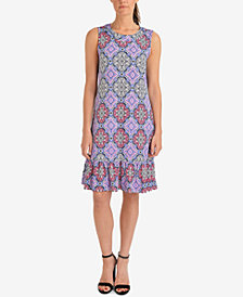 NY Collection Printed Ruffle-Hem Dress