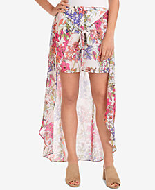 NY Collection High-Low Overlay Tie-Front Skirt