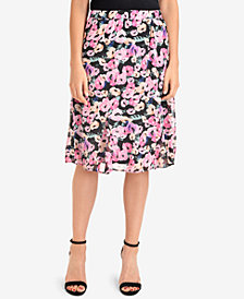 NY Collection Printed Godet Midi Skirt