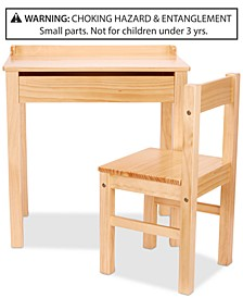 Wooden Lift-Top Desk & Chair - Honey