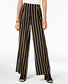 Ultra Flirt by Ikeddi Juniors' Striped Wide-Leg Pants