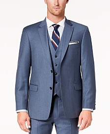 Tommy Hilfiger Men's Modern-Fit TH Flex Stretch Blue/Gray Twill Suit Jacket