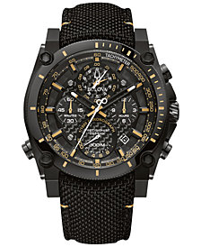 Bulova Men's Chronograph Precisionist Black Cordura Nylon Strap Watch 46.5mm