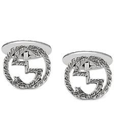 Men's Interlocking Cuff Links in Sterling Silver