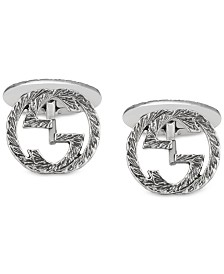 Gucci Men's Interlocking Cuff Links in Sterling Silver YBE45530500100U